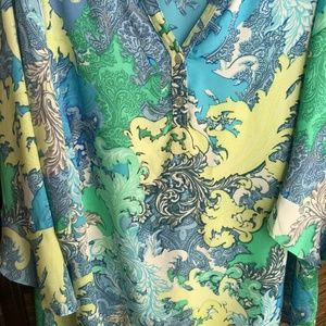 Chenault Tops - Chenault Paisley Blue Green 3/4 Sleeve Blouse